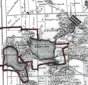 An 1874 map of Merry Lea's lakes.