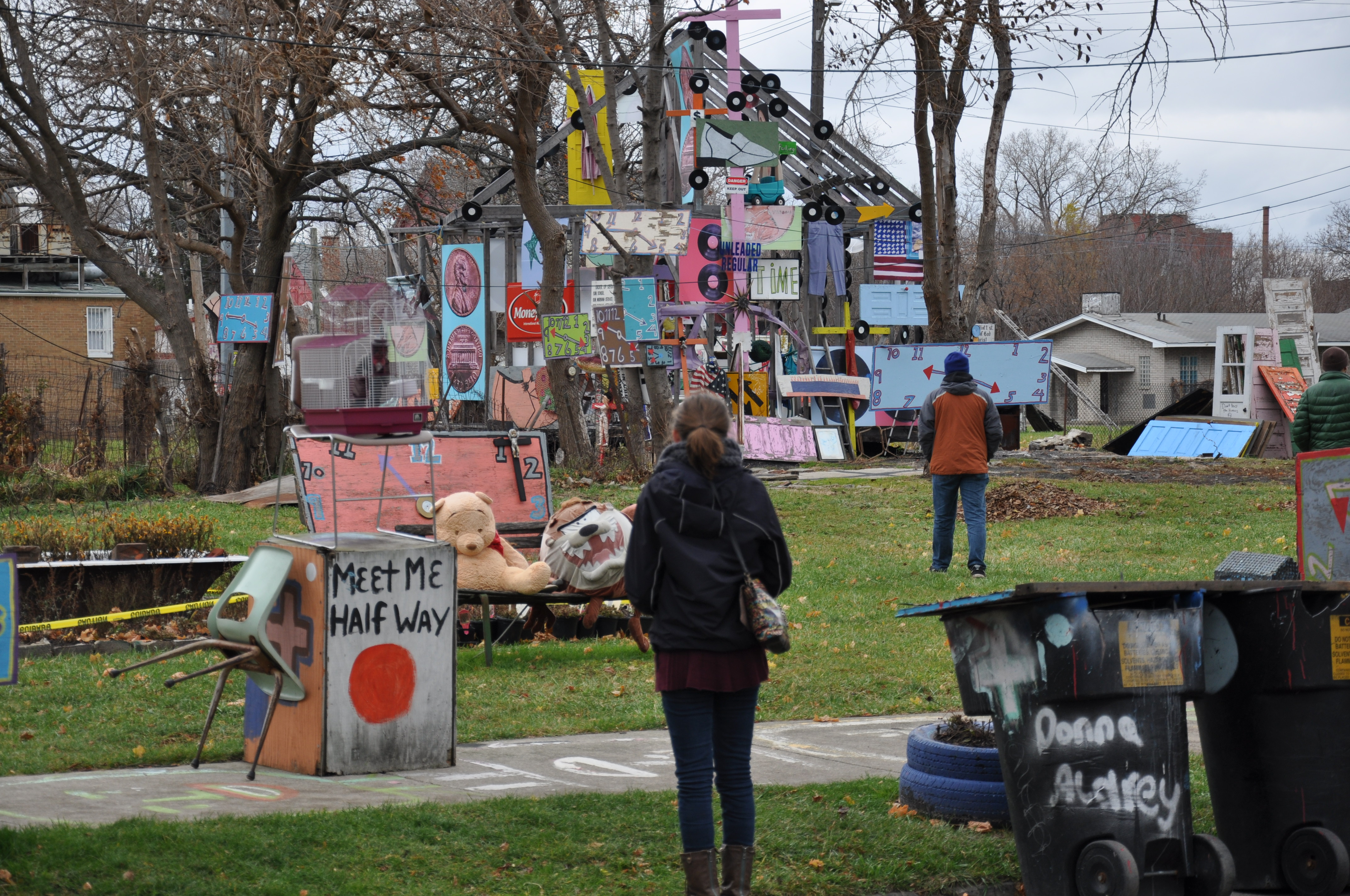 Students in Merry Lea's Master's in Environmental Education program visit the Heidelberg Place art project.
