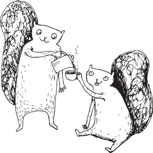 One squirrel serves another squirrel tea