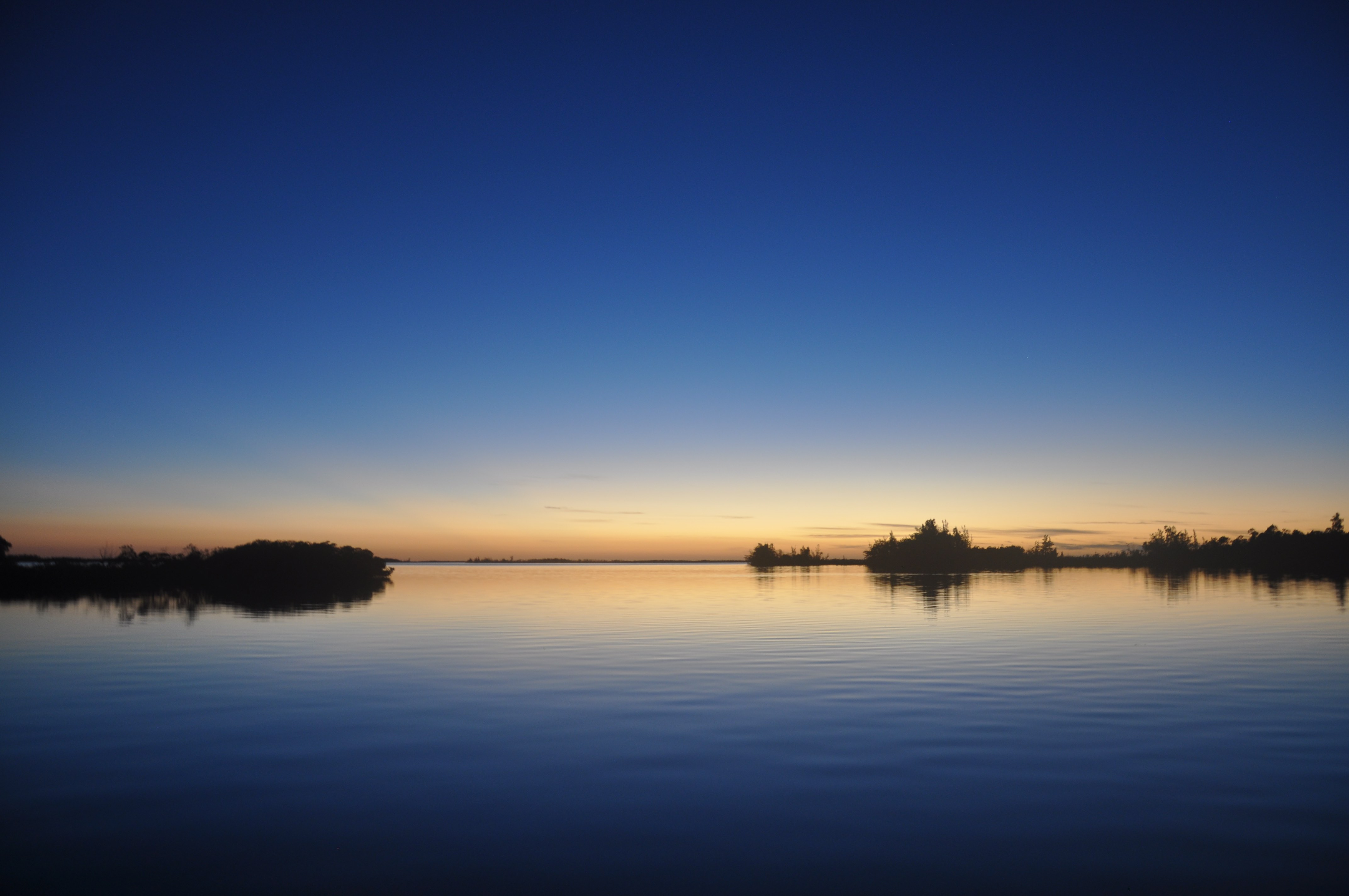 A sunset over water with dark blue, light orange, and silhouetted trees reflected.