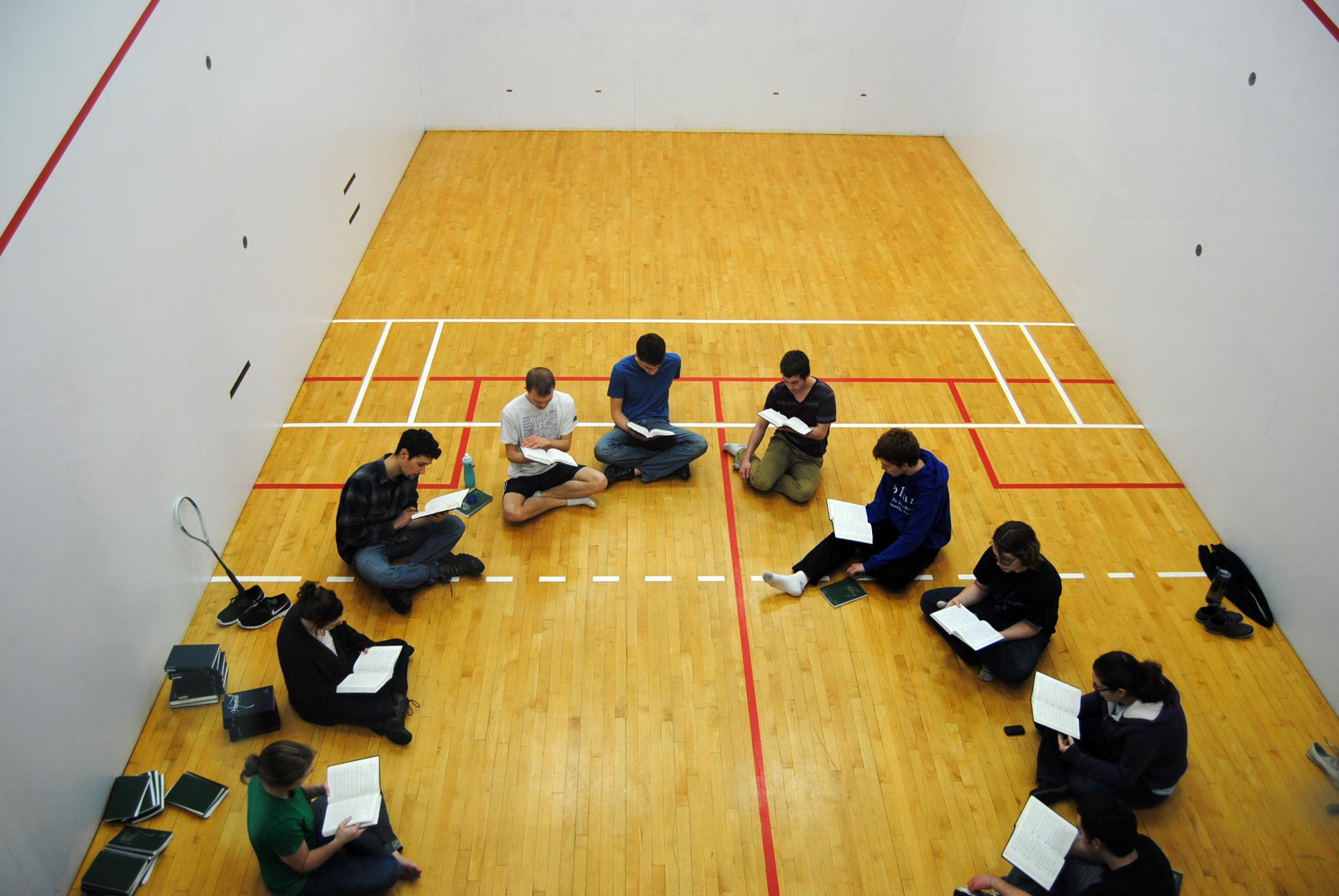 Hymn Club in raquetball court 6