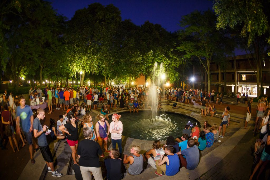 Goshen students gathered for a night time event on the college campus