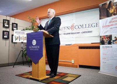 President Brenneman speaks during a Center for Intercultural Teaching and Learning (now CIIE) event in 2011