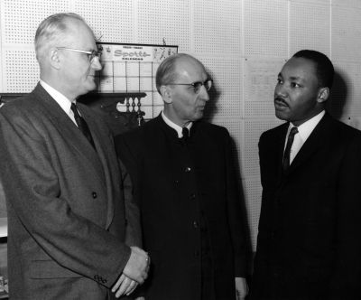 Martin Luther King with Willard Smith and Guy Hershberger at Goshen College, circa 1960. (Photo by the Elkhart Truth)