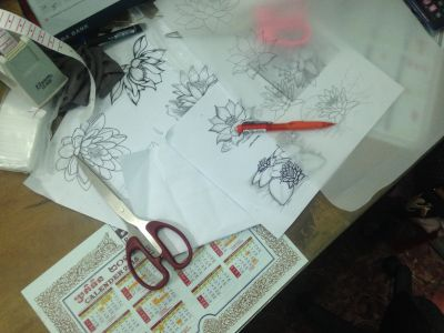 Drawings that will become stencils for silk painting.
