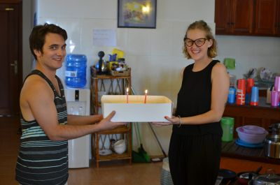 Berke and Kate celebrate their birthdays with the group. Kate's happened to be on the day the students returned to Phnom Penh (April 1st) - no joking!