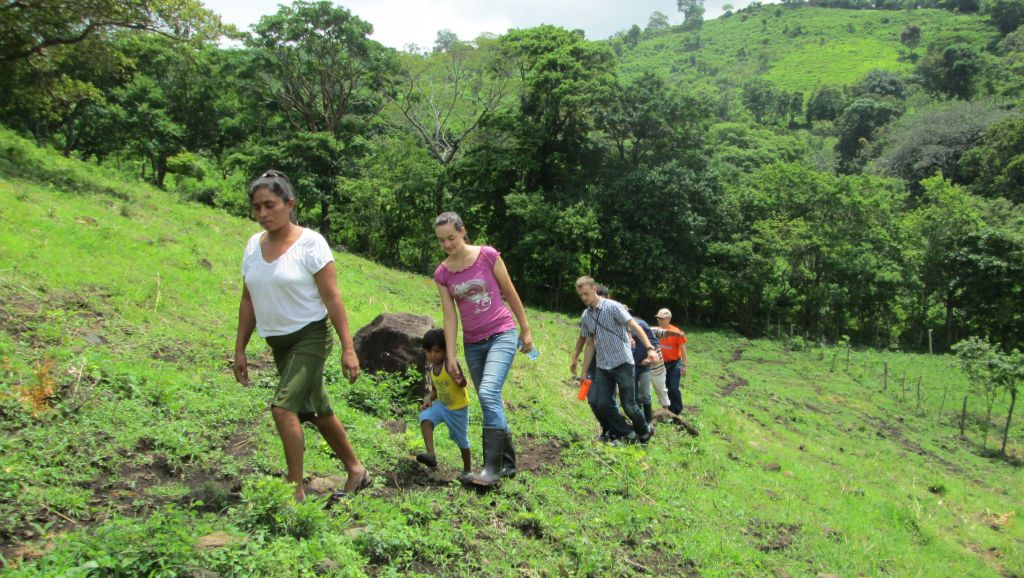 Hiking up to Teodoro's bean field.