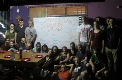 The Kairos staff greeted us with a special welcome board that had each student's name on it.