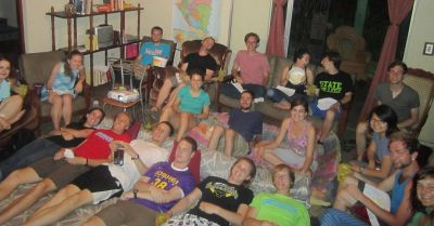 Movie night and birthday celebration at Casa Goshen!