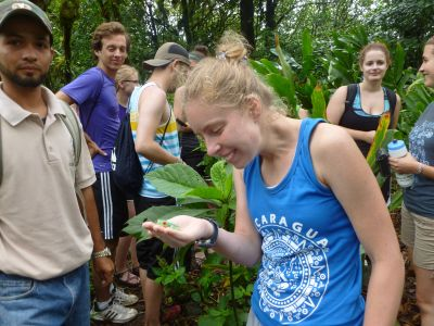 Ashley befriends a red-eyed tree frog