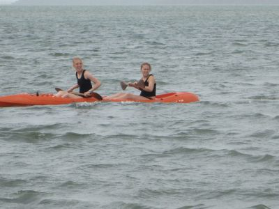 Sophie and Brianne enjoying a kayak ride.