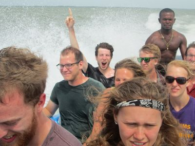 A very bumpy, fun and wet (at least for Wade and Jesse) from Pearl Lagoon to a local Garifuna village.