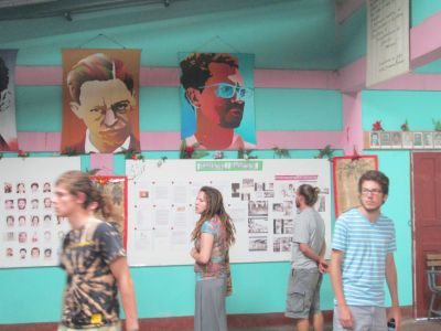 Students explore the displays of the museum.