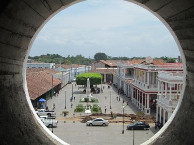 A view of the Parque Colon from the Cathedral bell tower