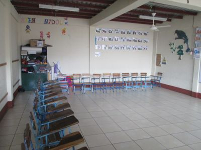 The kindergarten classroom at Emma's school.  When we visited all the schools throughout Nicaragua happened to be on break. Normally this classroom is filled with 32 students.