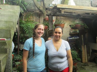 Emily with her Jinotega host mom in their backyard/patio
