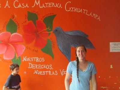 Colorful representative art inside Casa Materna