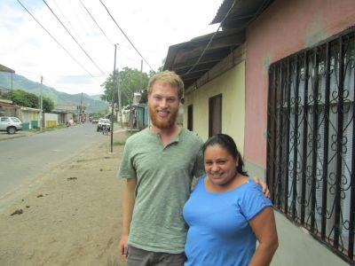 Ben with his Jinotega, host mom, outside their home
