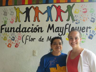 Molly with her supervisor, the director of Mayflower, a residential facility for deaf children