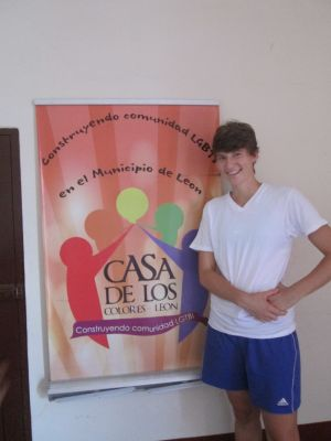 Natalie inside the colectiva where she is both working and living.