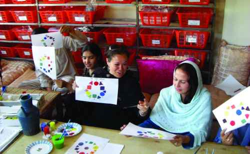Christina Hernandez working with women in Afghanistan