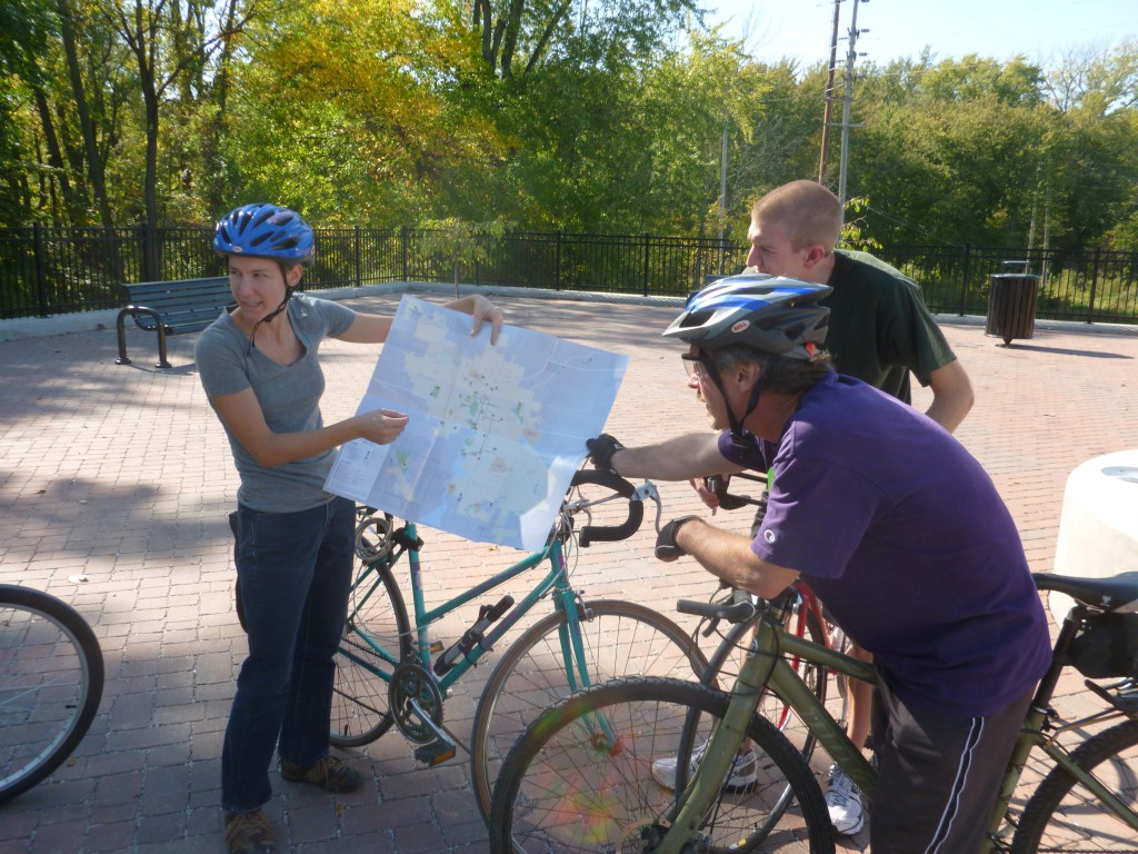 Goshen College students looking at a map