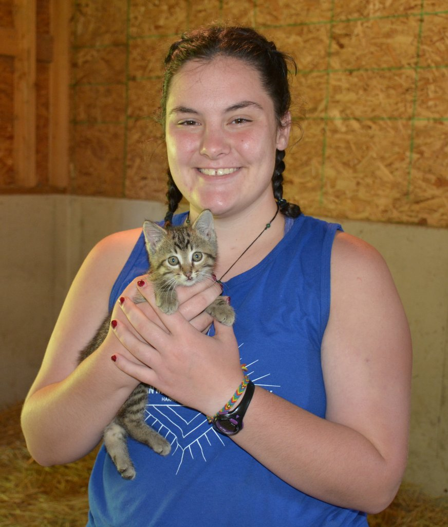 Hannah Wheeler with kitten.