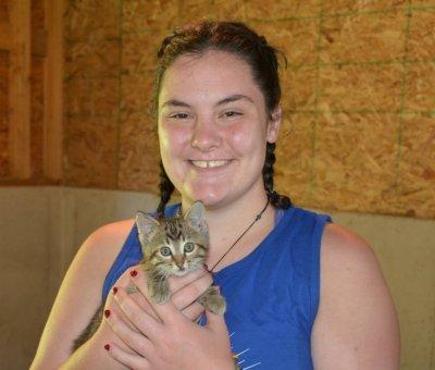 Hannah Wheeler with kitten.