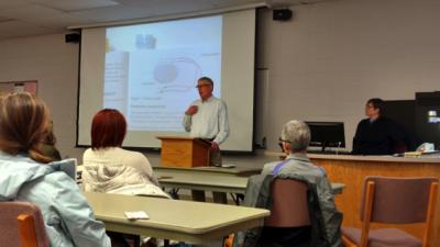 Professor presenting to a class