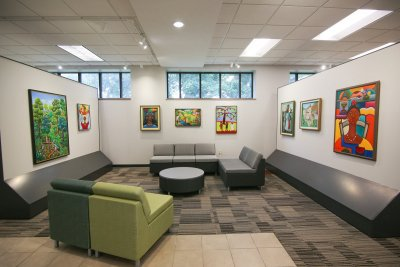 Lounge and Haitian art display in the Hunsberger Commons
