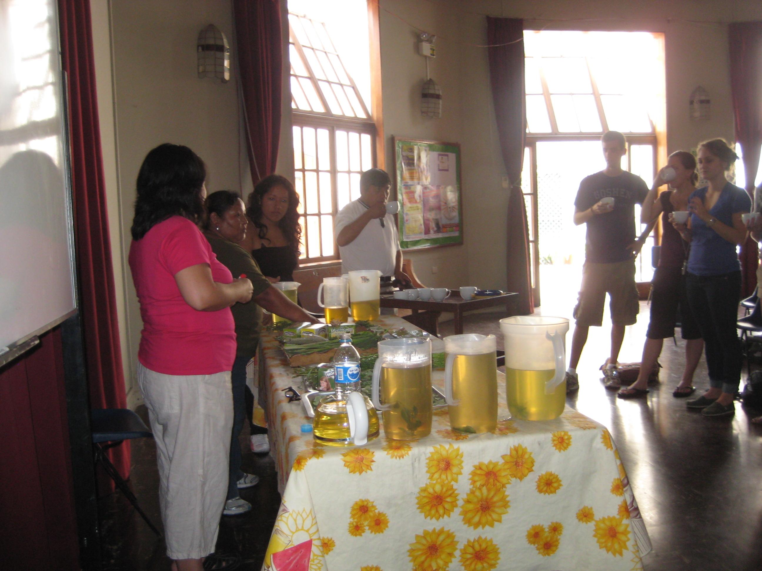 Alicia presents a workshop on medicinal teas; study coordinator Celia translates