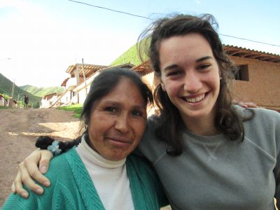 With her host mother, Tomasa