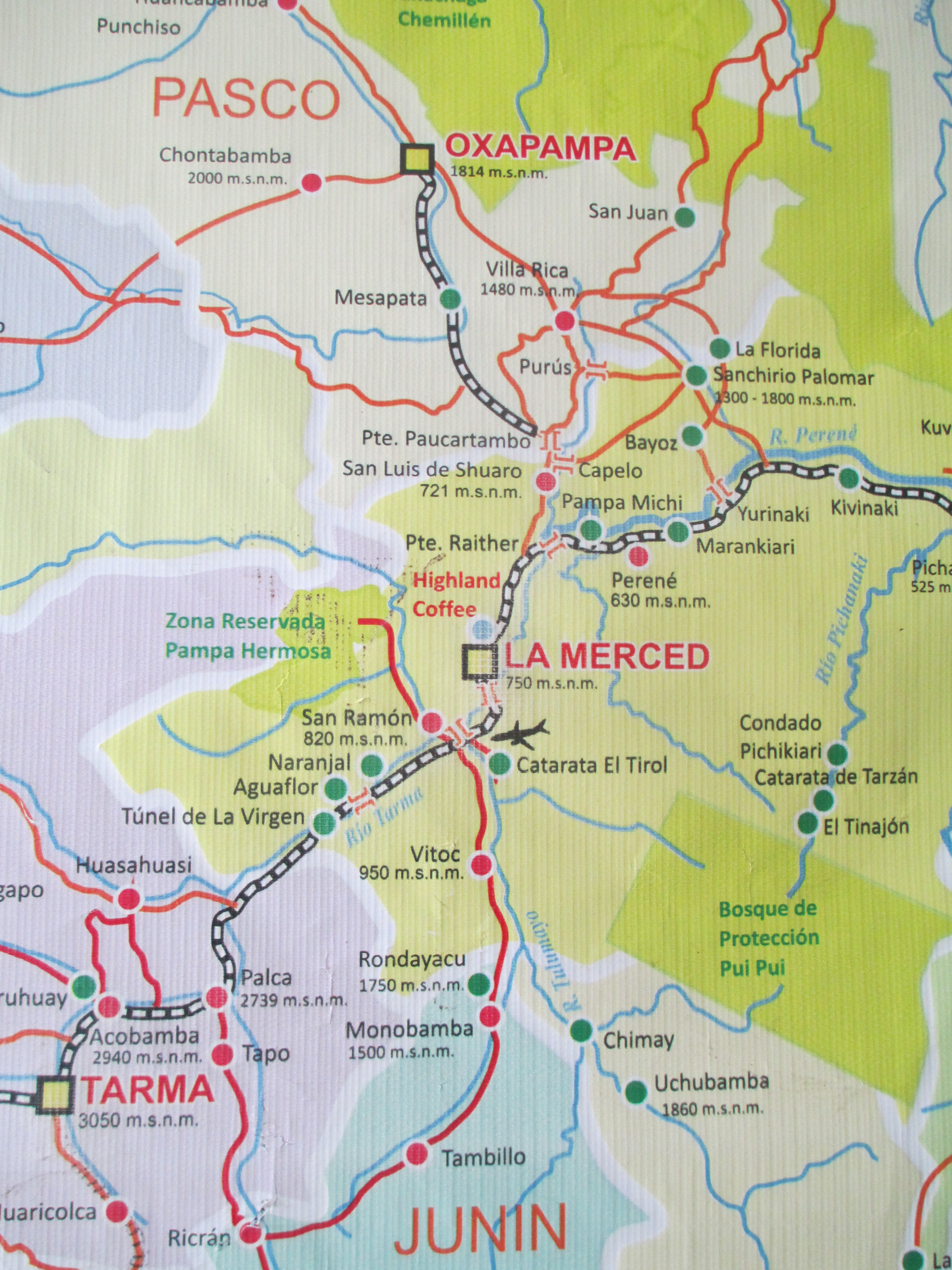 Oxapampa Peru Map.La Merced Is Located Between The Mountain City Of Tarma Lower Left