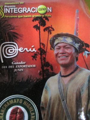 This label features Frank Dither Samaniego, a prominent Ashaninka native leader