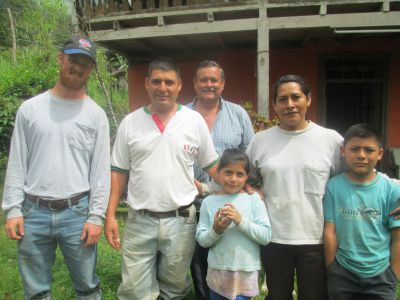 Back at the farm house with his host family (from left):  Martin, Uncle Juan, Mirella, Nancy and Giordano