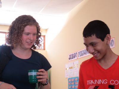 With Jesus, another student diagnosed with cerebral palsy