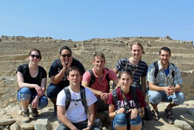 Goshen College students (front row) Joshua and Lauren and (back row) Becca, Jacob, Alan Landon and Rudy visited the Sacred City of Caral, site of the oldest civilization in the Americas.