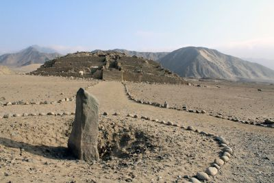 An obelisk at Caral which was used to determine the time. of day.