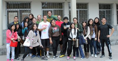 GC and Peruvian students pose after a spirited soccer game.