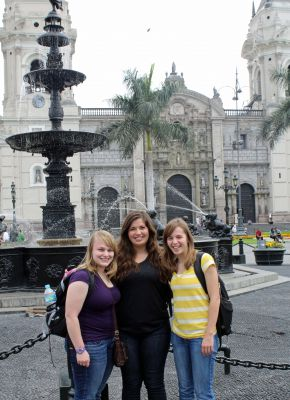 Aimee, Maria and Gina pause for a photo in front of the Cathedral of Lima.