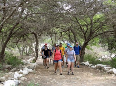 Students walk on a lovely trail to Caral.