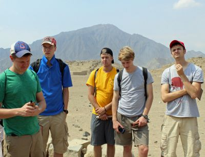 Dean, Tom, Derek, Jackson and Neal learn about Caral.