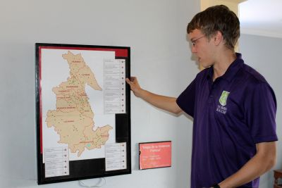 Thomas shows a map that describes the toll of the Shining Path conflict in Peru.