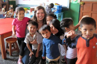 Maria in the pre-school classroom.