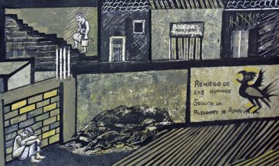 "Detail from the Delfin painting that depicts a tuberculosis outbreak in a Lima shantytown. A translation of the text beside the bird: ""I renounce humans. I request a bird's passport."""
