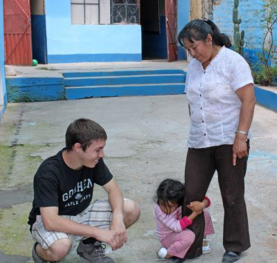 Jake with his host sister, Wanda, and host mother, Elizabeth Huarcaya Yarasca.