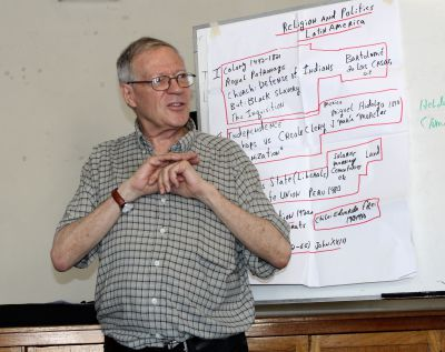 During his lectures, Father Klaiber typically followed on outline he wrote on large pieces of paper.