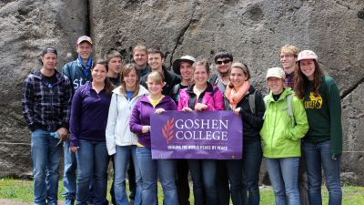 Goshen College students at Saqsayhuaman.