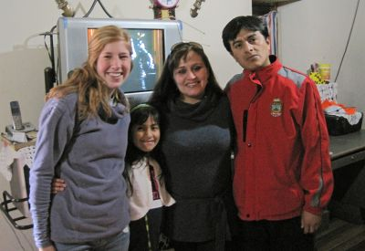 Natalie with her host family in Tarma: Isabel, Yadira and Abraham Banon.