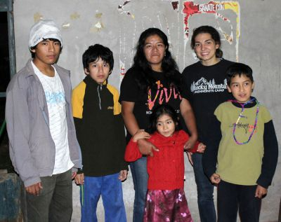 Gretchen with her host mother, Marianela Villantoy Claros, and her four host siblings.